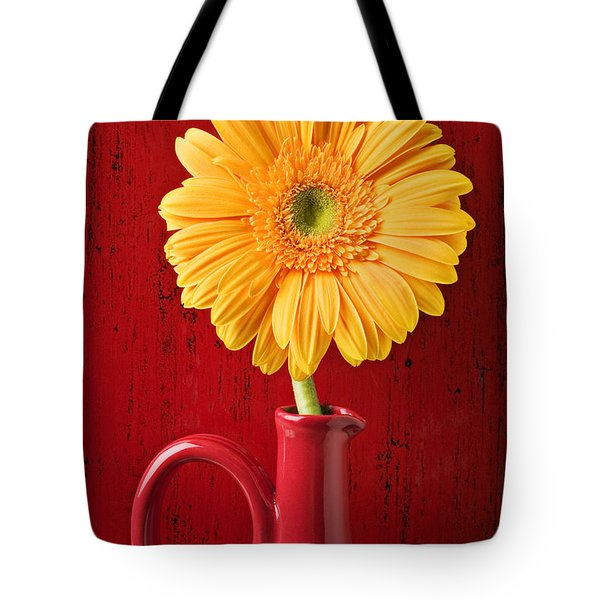 Yellow daisy in red vase Tote Bag by Garry Gay
