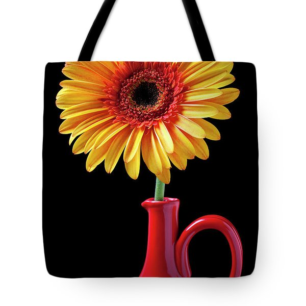 Yellow fancy daisy in red vase Tote Bag by Garry Gay
