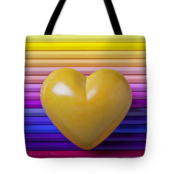 Yellow heart on row of colored pencils Tote Bag by Garry Gay