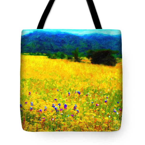 Yellow Hills Tote Bag by Wingsdomain Art and Photography