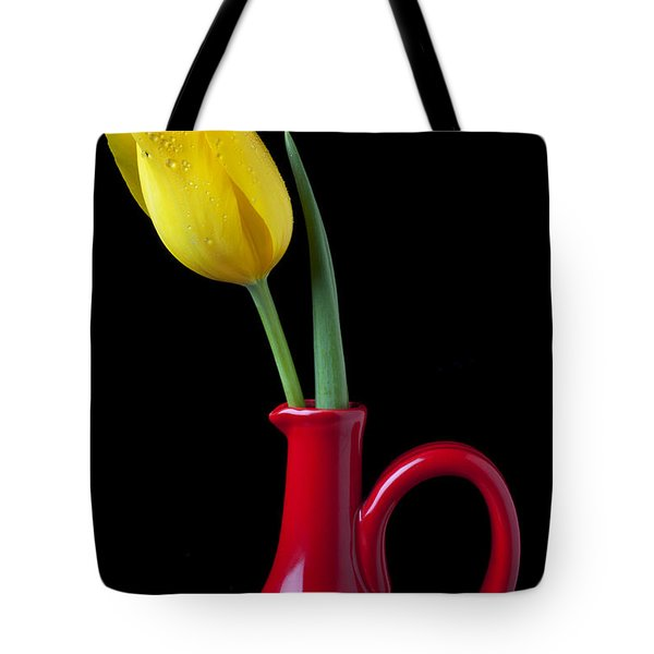 Yellow Tulip In Red Pitcher Tote Bag by Garry Gay