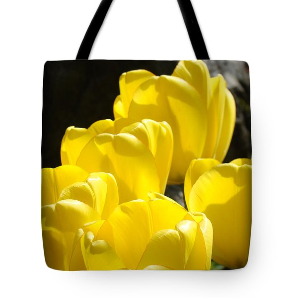 Yellow Tulips Floral art prints Nature Garden Tote Bag by Baslee Troutman