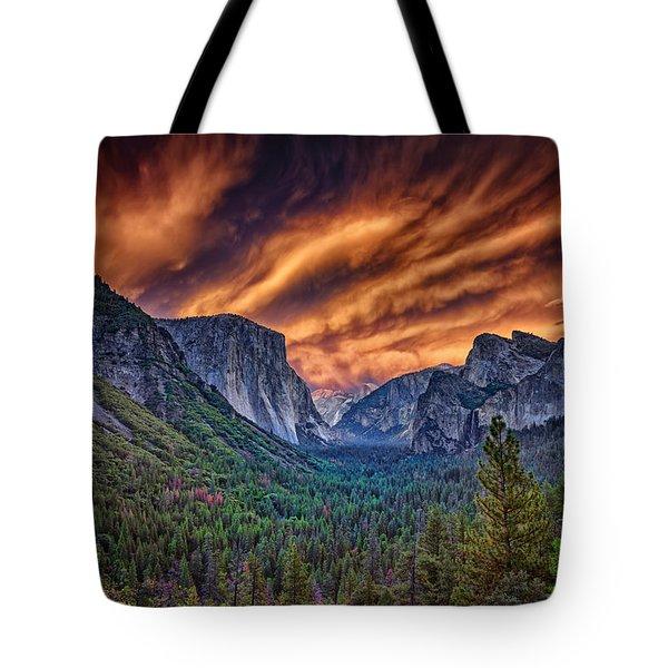 Yosemite Fire Tote Bag by Rick Berk