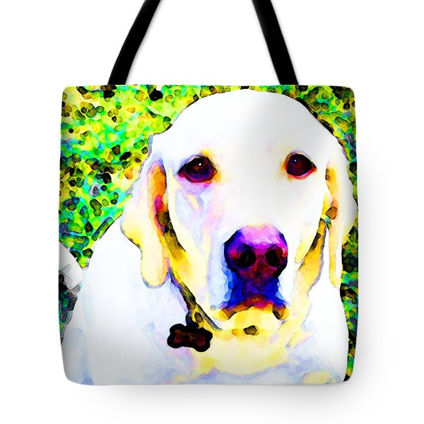 You Are My World - Yellow Lab Art Tote Bag by Sharon Cummings