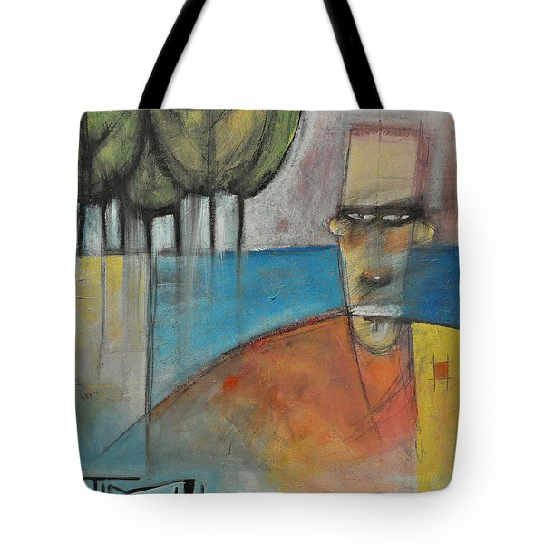 Young Man And The Sea With Trees Tote Bag by Tim Nyberg