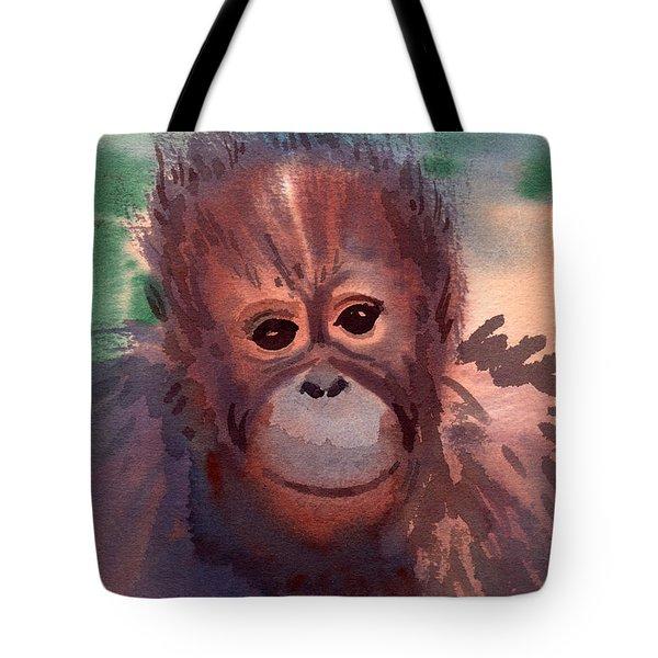 Young Orangutan Tote Bag by Donald Maier