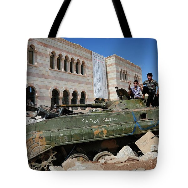 Young Syrian Boys On Top Tote Bag by Andrew Chittock