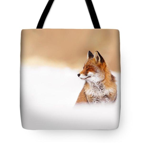 Zen Fox Series - Zen Fox In Winter Mood Tote Bag by Roeselien Raimond