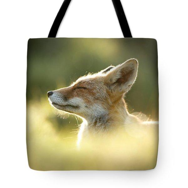Zen Fox Series - Zen Fox Up Close Tote Bag by Roeselien Raimond