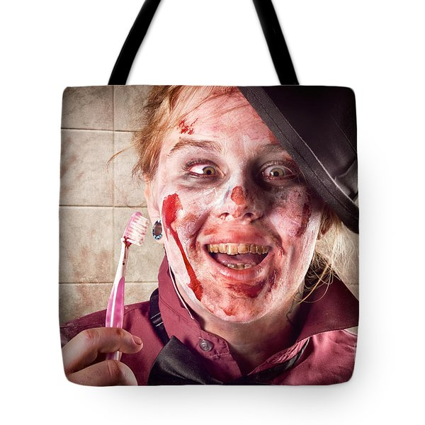 Zombie at dentist holding toothbrush. Tooth decay Tote Bag by Ryan Jorgensen