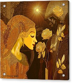 171 - Woman With Golden Roses     Acrylic Print by Irmgard Schoendorf Welch