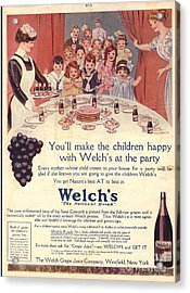 1910s Usa Welchs Juice Children�s Acrylic Print by The Advertising Archives