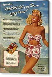 1940s Usa Tartan   Lotions Swim Suits Acrylic Print by The Advertising Archives