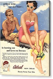 1950s Uk Sun Creams Lotions Tan Acrylic Print by The Advertising Archives