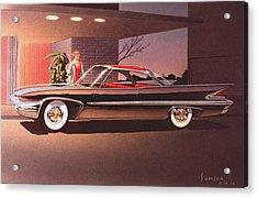 1960 Desoto Classic Styling Design Concept Rendering Sketch Acrylic Print by John Samsen