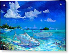 A Place I'd Rather Be - Caribbean Bonefish Fly Fishing Painting Acrylic Print by Savlen Art