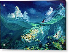 A Place I'd Rather Be - Caribbean Tarpon Fish Fly Fishing Painting Acrylic Print by Savlen Art