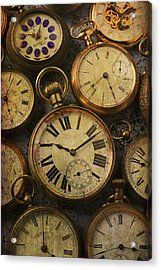 Aged Pocket Watches Acrylic Print by Garry Gay