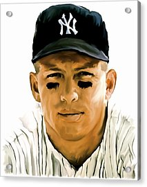 American Icon Mickey Mantle Acrylic Print by Iconic Images Art Gallery David Pucciarelli