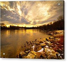 Androscoggin River Between Lewiston And Auburn Acrylic Print by Bob Orsillo