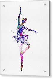 Ballerina Dancing Watercolor 2 Acrylic Print by Naxart Studio