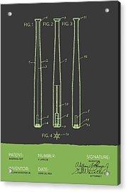 Baseball Bat Patent From 1924 - Gray Green Acrylic Print by Aged Pixel