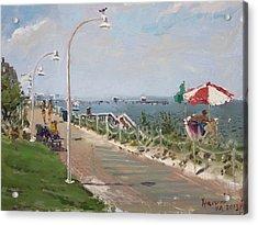 Beach Border Walk In Norfolk Va Acrylic Print by Ylli Haruni