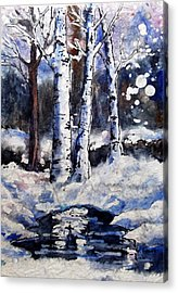 Snow Scenes In Watercolors Acrylic Print featuring the painting  Birch Dreams II by Gloria Avner