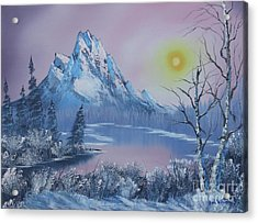 Blue Winter's Sunglow  Acrylic Print by Bob Williams