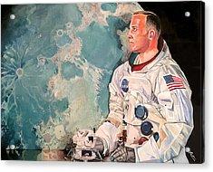Buzz Aldrin Acrylic Print by Michael  Pattison