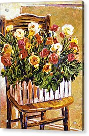Chair Of Flowers Acrylic Print by David Lloyd Glover