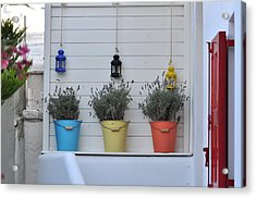 Colored Pails Acrylic Print by Kathy Schumann