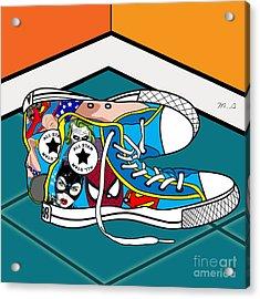 Comics Shoes Acrylic Print by Mark Ashkenazi