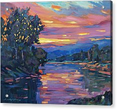 Dusk River Acrylic Print by David Lloyd Glover
