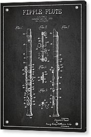Fipple Flute Patent Drawing From 1959 - Dark Acrylic Print by Aged Pixel