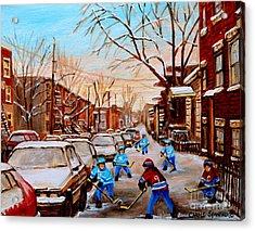 Hockey Art- Verdun Street Scene - Paintings Of Montreal Acrylic Print by Carole Spandau