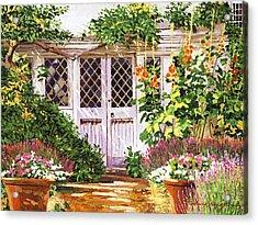 Hollyhock Gardens Acrylic Print by David Lloyd Glover