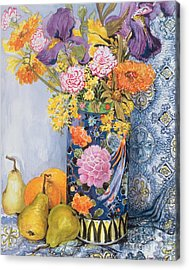 Iris And Pinks In A Japanese Vase With Pears Acrylic Print by Joan Thewsey