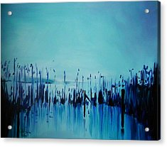 Lake With Reeds In Blue Acrylic Print by Jolanta Shiloni
