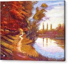 Lakeside Colors Acrylic Print by David Lloyd Glover