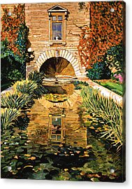 Lily Pond And Fountain Acrylic Print by David Lloyd Glover