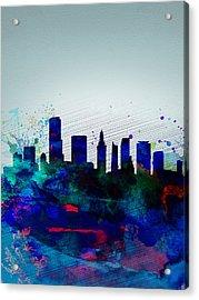 Miami Watercolor Skyline Acrylic Print by Naxart Studio