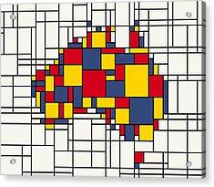 Mondrian Inspired Australia Map Acrylic Print by Michael Tompsett