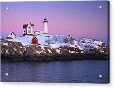 Nubble Light Under A Pastel Winter Sky Acrylic Print by Jeff Sinon