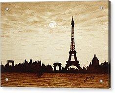 Paris Under Moonlight Silhouette France Acrylic Print by Georgeta  Blanaru