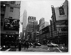 Pedestrians Crossing Crosswalk Outside Macys 7th Avenue And 34th Street Entrance New York City Acrylic Print by Joe Fox