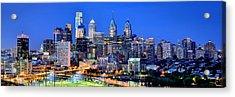 Philadelphia Skyline At Night Evening Panorama Acrylic Print by Jon Holiday