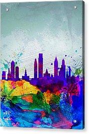 Philadelphia Watercolor Skyline Acrylic Print by Naxart Studio