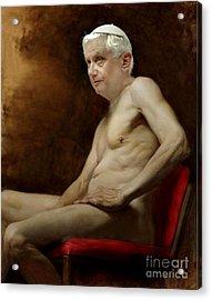 Pope Benedict Seated Nude Acrylic Print by Karine Percheron-Daniels