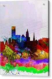 Providence Watercolor Skyline Acrylic Print by Naxart Studio